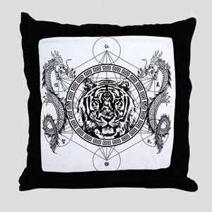 Tiger and Twin Dragons Throw Pillow