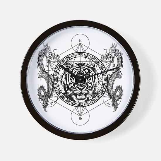 Tiger and Twin Dragons Wall Clock