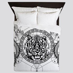 Tiger and Twin Dragons Queen Duvet