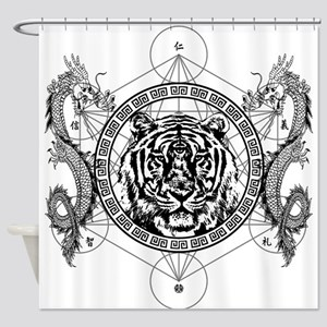 Tiger and Twin Dragons Shower Curtain