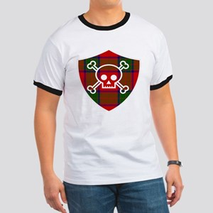 Robertson Tartan Skull And Bones Shield T-Shirt