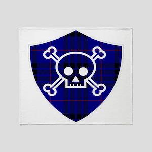 MacKay Tartan Skull And Bones Shield Throw Blanket
