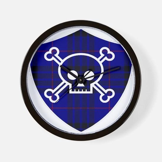 MacKay Tartan Skull And Bones Shield Wall Clock