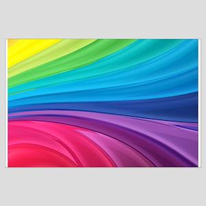 Rainbow Wave Swirls Large Poster