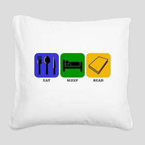Eat Sleep Read Square Canvas Pillow
