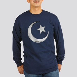 Silver Star and Crescent Long Sleeve Dark T-Shirt