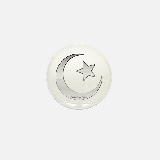 Silver Star and Crescent Mini Button