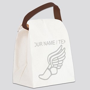 Custom Silver Winged Running Shoe Canvas Lunch Bag