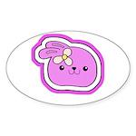 Purple Kissing Bunny Oval Sticker