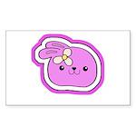 Purple Kissing Bunny Rectangle Sticker