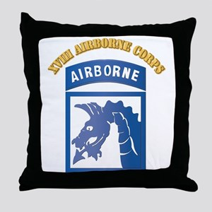 SSI - XVIII Airborne Corps with Text Throw Pillow