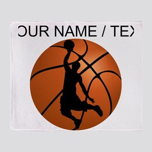 Custom Basketball Dunk Silhouette Throw Blanket