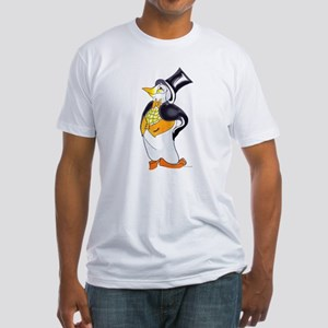 Penguin Arriving in style, 2 sided, Fitted T-Shirt