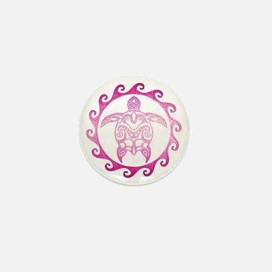 Pink Tribal Turtle Sun Mini Button