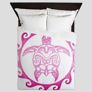 Pink Tribal Turtle Sun Queen Duvet
