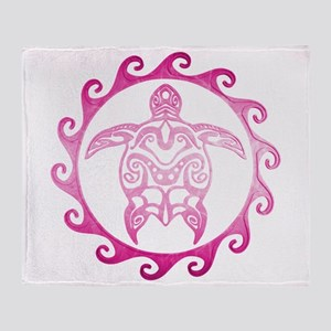 Pink Tribal Turtle Sun Throw Blanket
