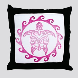 Pink Tribal Turtle Sun Throw Pillow