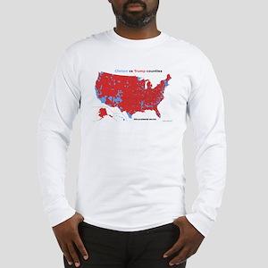 Trump vs Clinton Map Long Sleeve T-Shirt