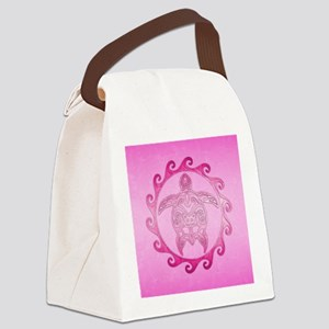 Pink Tribal Turtle Sun Canvas Lunch Bag