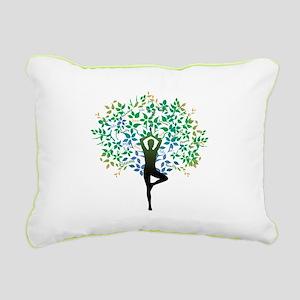 Yoga Tree Pose Rectangular Canvas Pillow
