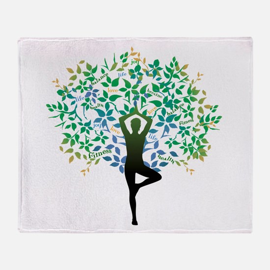 Yoga Tree Pose Throw Blanket
