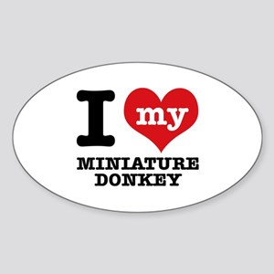 I love my Miniature Donkey Sticker (Oval)