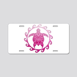 Pink Turtle Sun Aluminum License Plate