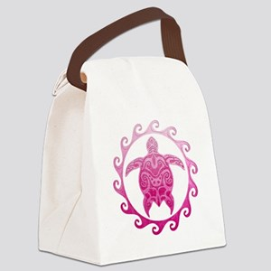 Pink Turtle Sun Canvas Lunch Bag