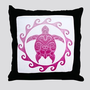 Pink Turtle Sun Throw Pillow