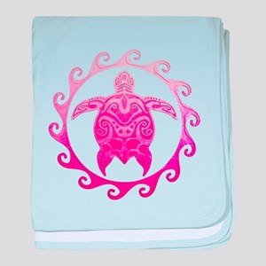 Pink Turtle Sun baby blanket