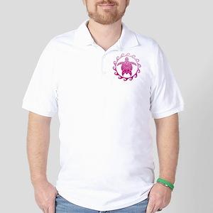 Pink Turtle Sun Golf Shirt
