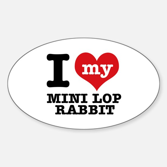 I love my Mini Lop Rabbit Sticker (Oval)