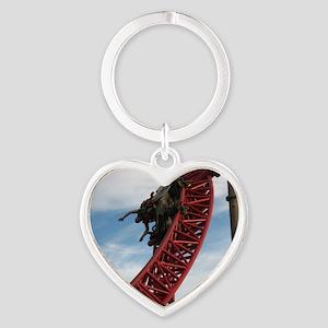 Cedar Point Maverick Roller Coaster Heart Keychain