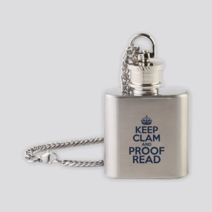 Keep Clam and Proof Read Flask Necklace