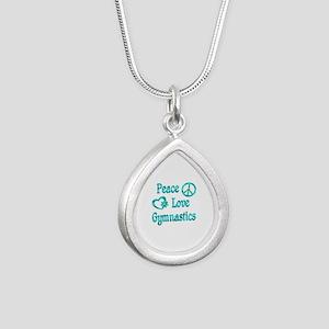 Peace Love Gymnastics Silver Teardrop Necklace