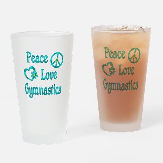 Peace Love Gymnastics Drinking Glass