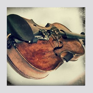 vintage fiddle Tile Coaster