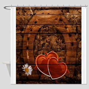 country wedding hearts horseshoe woodgrain Shower