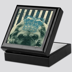 funny pug  stripes pattern Keepsake Box