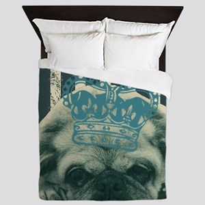 funny pug  stripes pattern Queen Duvet