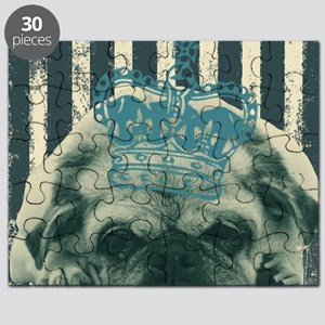 funny pug  stripes pattern Puzzle