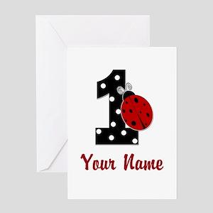 Ladybug 1st Birthday Greeting Cards Cafepress