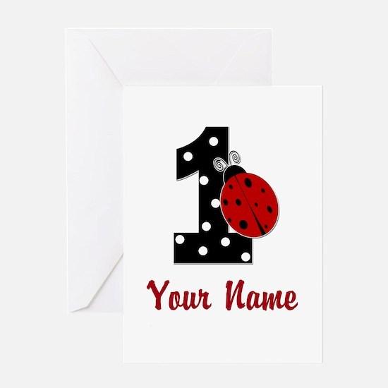 1 Ladybug ANY NAME! Greeting Cards