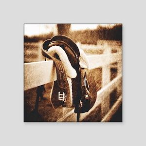"horse saddle cowboy fashion Square Sticker 3"" x 3"""