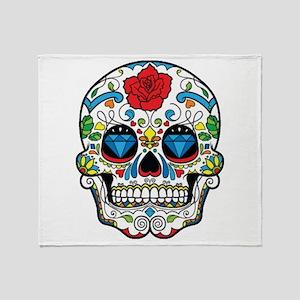 Dark Sugar Skull Throw Blanket