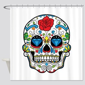Dark Sugar Skull Shower Curtain