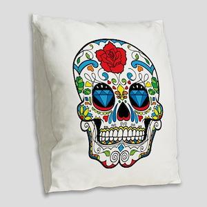 Dark Sugar Skull Burlap Throw Pillow