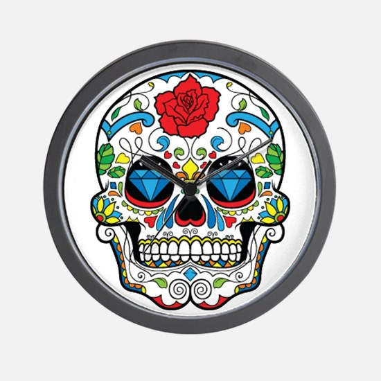Dark Sugar Skull Wall Clock