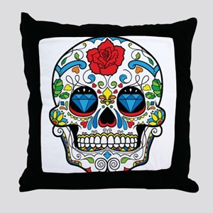 Dark Sugar Skull Throw Pillow