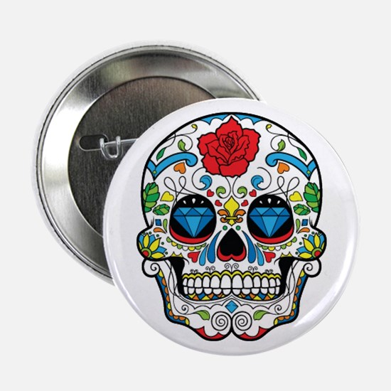 "Dark Sugar Skull 2.25"" Button"